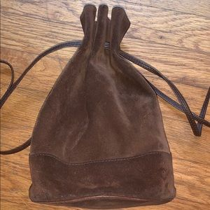 Barney's New York Italian brown suede bucket bag